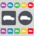 Jeep icon sign A set of 12 colored buttons Flat vector image