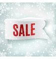 Winter sale background with white realistic ribbon vector image