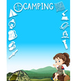 Border design with camping gears and girl vector image
