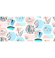 bunny rabbits cute characters set for easter vector image