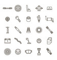 car parts black thin line icon set vector image