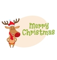 Cute funny Christmas reindeer in red hat scarf vector image