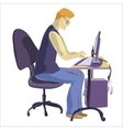 Man sitting in front of his computer and working vector image