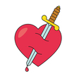 Heart with dagger icon vector image