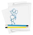 A paper with a sketch of a person holding balloons vector image vector image