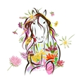 Horse sketch with floral decoration for your vector image