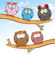 funny owl group cartoon on tree vector image vector image