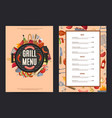 barbecue or grill vertical menu template vector image