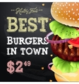 Burger house poster on chalkboard fastfood vector image
