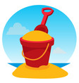 children39s bucket with sand and rake color of a vector image