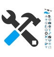 Hammer And Wrench Icon With Copter Tools Bonus vector image