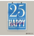 Happy birthday poster card twenty-five five years vector image