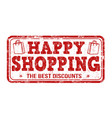 happy shopping stamp vector image