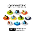 Isometric flat icons set 5 vector image