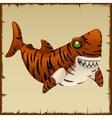 One evil tiger shark cartoon character vector image