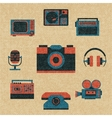 vintage media icons vector image