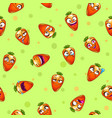 seamless pattern with funny cartoon carrot vector image