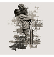 Father with daughter abstract vector image