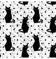 Hand drawn seamless pattern with black cats vector image