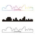 Columbia skyline linear style with rainbow vector image