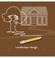 Contour tree house stone pathway pencil and vector image