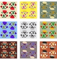 Nine patterns of poppy vector image