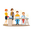 business woman entrepreneur with colleagues vector image