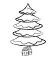 christmas pine tree icon vector image