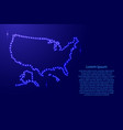 map usa from luminous blue star space points on vector image