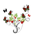 strawberry plant with butterflies vector image