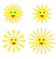 Sun smiles collection vector image
