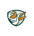 Pelican Dunking Basketball Crest Retro vector image