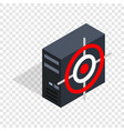 computer system unit and red target isometric icon vector image
