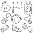 collection of sport equipment doodle style vector image