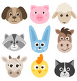 set of cute cartoon colorful farm animals vector image