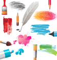 drawing tools and banners vector image vector image
