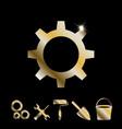 gold gear icon vector image