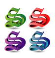 3d alphabet S in different colors vector image