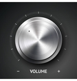 Volume button music knob with metal texture chrome vector image