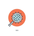 Flat lined loupe icon SEO vector image
