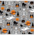 halloween pattern orange gray vector image