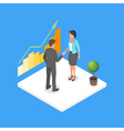 isometric 3d of two business people making dea vector image