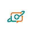 medic cross technology media logo vector image