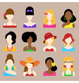 Set of Flat Icons with Women Characters vector image