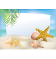 Beach blank paper vector image vector image