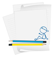 A paper with a drawing of a boy vector image vector image