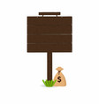 wooden signpost with grass and money bag under vector image