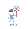 Police holding the sign ban on bribes vector image vector image