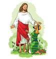 Jesus healing a lame man vector image vector image