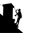 Worker on the house roof vector image vector image